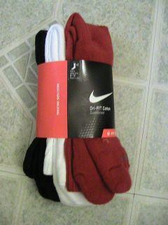 Nike Mens Dri Fit Crew Socks Red White and Black Size Large 8 12