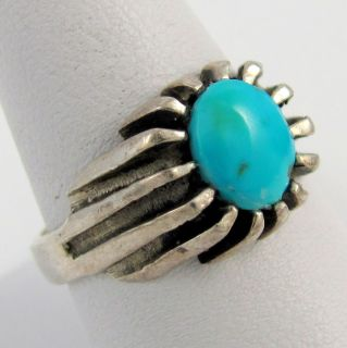 Melvin Thompson Navajo Sterling Silver Turquoise Ring Sz 9 5 NJ T