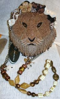 MARY FRANCES Lion Beige Brown Hear Me Roar Bead Bag handbag Evening