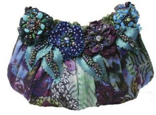 MARY FRANCES Flora Mini Blue Purple Flower Bag PURSE Handbag NEW Fall