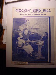 Les Paul Mary Ford Mockin Bird Hill 1949 Sheet Music