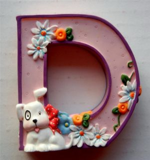 MARY ENGELBREIT letter D ALPHABET Collectible DOG DAISIES decorative