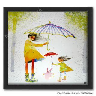 Masha DYans Watercolor Rain Fall 11x12 Print Framed