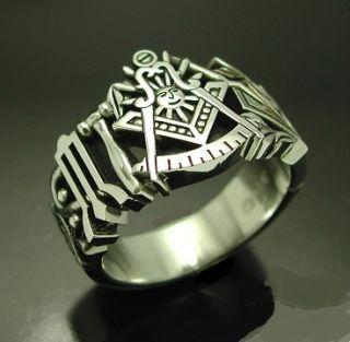 Past Master Sterling Silver Masonic Ring Mason Free Mason Style 001