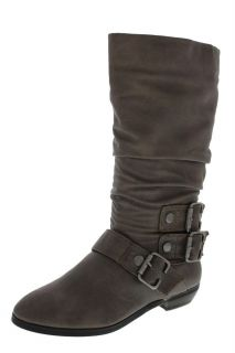 Material Girl NEW Melation Taupe Pleather Slouch Mid Calf Boots Shoes