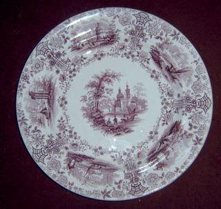 WR Co Wm Ridgway Antique Mulberry Marmora Dinner Plate