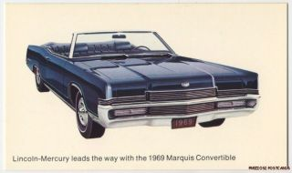 1969 Mercury Marquis Convertible Original Ad Postcard