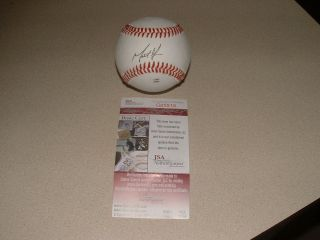 MATT MOORE AUTO SIGNED OFFICIAL NCAA BASEBALL JSA CERT CARD TAMPA BAY