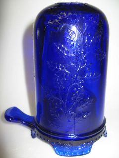 Cobalt Blue glass Fairy lamp holly pattern / candle holder christmas
