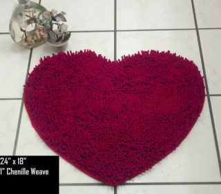 Chenille Red Heart Luxury Indoor Rug Bathroom Bath Mat