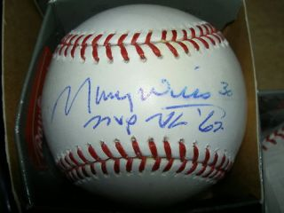 Maury Wills Auto Signed MLB Baseball MVP 62 Smeared