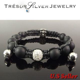 white crystal ball matt black stone bead hip hop shamballa bracelet
