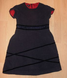 Girls Dress Tommy Hilfiger Lined Velveteen Gray w Red Black Accents