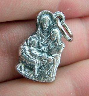 Nativity Scene Mary Joseph Baby Jesus Silver P Medal Pendant Italy