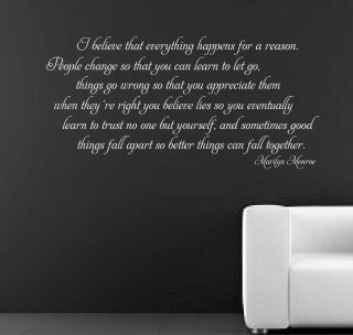 Marilyn Monroe I Believe Wall Sticker Mural Decal Quote Art RC 50