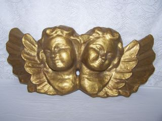 Victorian Chic Double Cherub Paper Mache Wall Plaque Wall Art Bronze