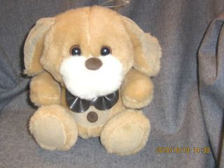 Commonwealth McCrory Plush Dog 8 Bow Tie Cuddle Tan White Sitting