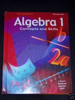 McDougal Littell Mathematics Algebra 1 Math 9th Grade 9