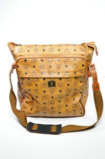MCM Vintage Cognac Leather Logo Messenger Bag