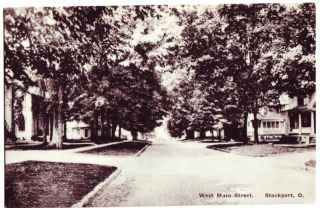 Old Stockport Ohio Postcard Main Street Mcconnelsville