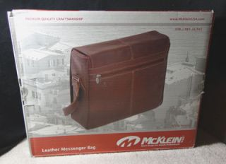 McKlein USA Leather Laptop Messenger Bag Cognac New in Box