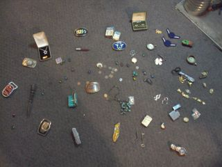 JUNK DRAWER WATCHES JEWERLY KNIVES COINS MARBLES LIGHTERS BELT BUCKLES