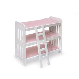 Triple Bunk Bed w Ladder Fits 18 American Girl w Mattresses