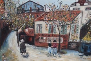 Oil Painting of A French Townscape by Maurice Utrillo Important