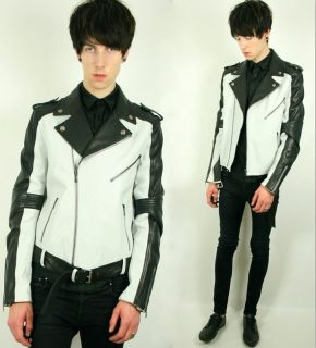 Alexander McQueen McQ Black White Leather Biker Runway Fitted Jacket S