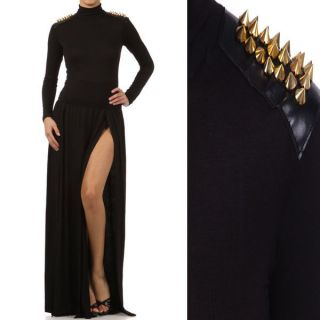 New Turtle Neck Maxi Dress Spike Studded Shoulder Double Slit Open