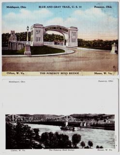 Pomeroy Ohio Postcards Meigs County Bridge Ohio River