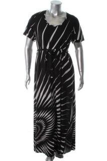Melissa Masse New Black White Maxi Short Sleeve Printed Casual Dress