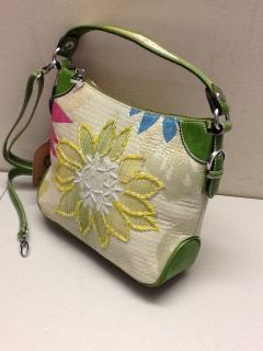 Mellow World Brocade and Beaded Mini Hobo Style Handbag in Green
