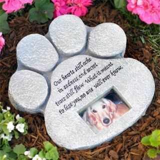 Paw Print Pet Memorial Stone Dog Cat Garden Photo Grave