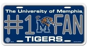 Memphis Tigers NCAA #1 Fan Aluminum Metal License Plate 6x12 Tag Car