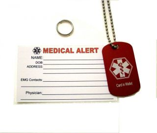 Medical Alert Dog Tag ID Wallet Card Medic Bundle Kit