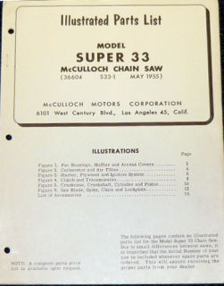 McCulloch Super 33 Chain Saw Parts List Parts Manual
