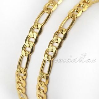 Cool Mens Womens 24K Gold Filled Figaro Necklace Chain 27 GF Jewelry