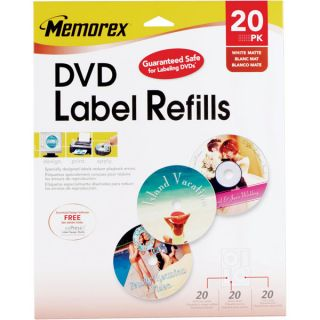 Memorex 3202 0715 White Matte DVD Labels Memorex