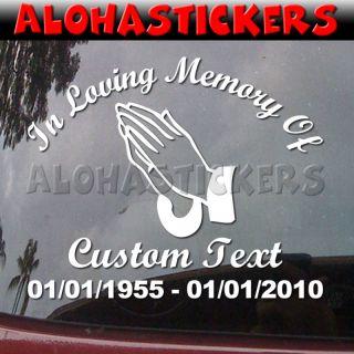 In Loving Memory Praying Hands Memorial Vinyl Decal R95