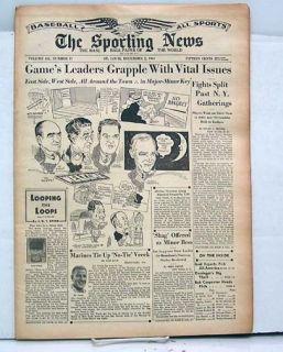 Dec 2 1943 Sporting News Paul Derringer Mel Ott ODoul