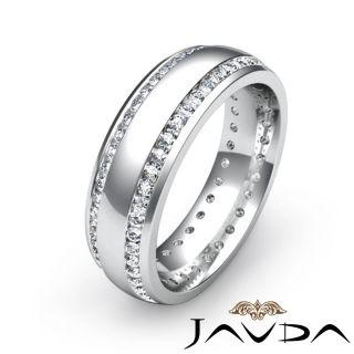 Diamond Ring Men Solid Eternity Wedding Band Platinum Sz8