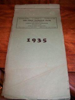 1935 First National Bank Desk Calendar Mcminnville Or