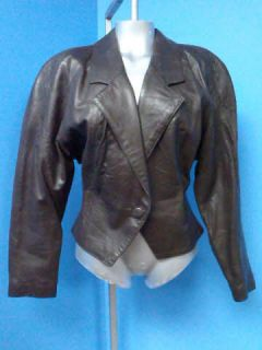 Danier  FITTED Vtg 80s Brown LEATHER Women Coat Jacket SZ M