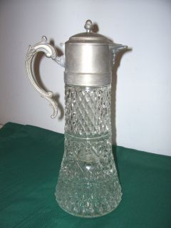 Nickel Pewter Pressed Glass Claret Pitcher w Ice Insert Diamond