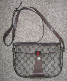 Vintage Gucci Accessory Brown Logo Swing Crossbody Handbag