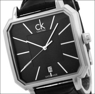 New Calvin Klein Black Crocodile Leather Swiss Black Dial Mens Watch