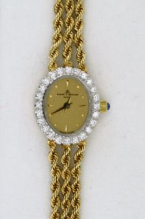 Womens Baume Mercier Geneve 14K Solid Gold Diamond Watch with Original