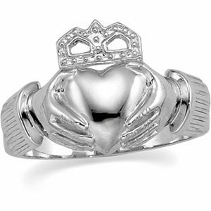 Mens Heavy Claddagh Wedding Ring Band 14k White Solid Gold Great