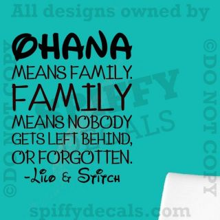 Ohana Means Family Lilo and Stitch Disney Quote Vinyl Wall Decal Decor
